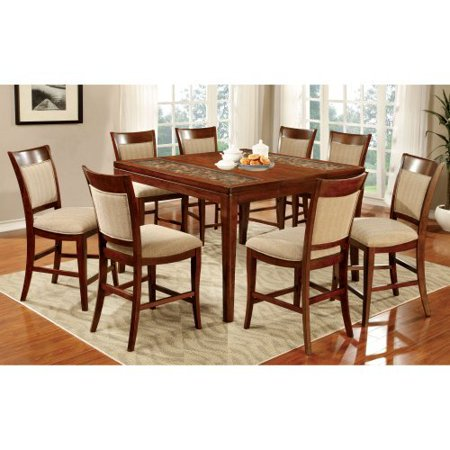 counter height 9 piece dining table set with woven table top design