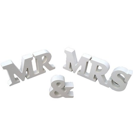 White Mr and Mrs Letters Sign Wooden Standing Table Prop Wedding Decoration Supply PVC material](Mr & Mrs Letters)