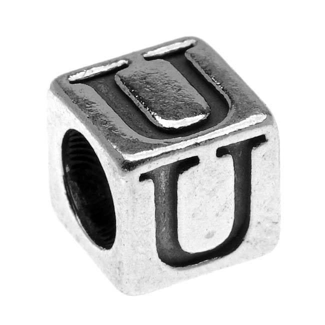 Lead-Free Pewter Alphabet Bead, Letter 'U' 5.5mm Cube, 1 Piece, Antiqued Silver