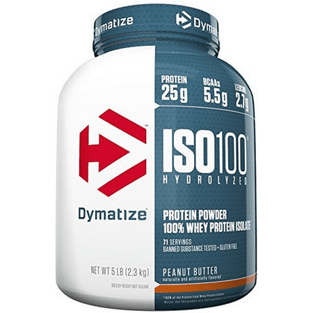 Dymatize ISO 100 Hydrolyzed 100% Whey Protein Powder, Peanut Butter, 25g Protein, 5lb, (Dymatize Iso 100 5lbs Price In India)