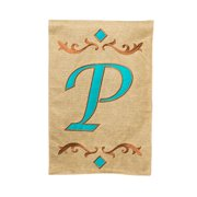 Evergreen Enterprises, Inc Monogram Burlap Teal Vertical Flag
