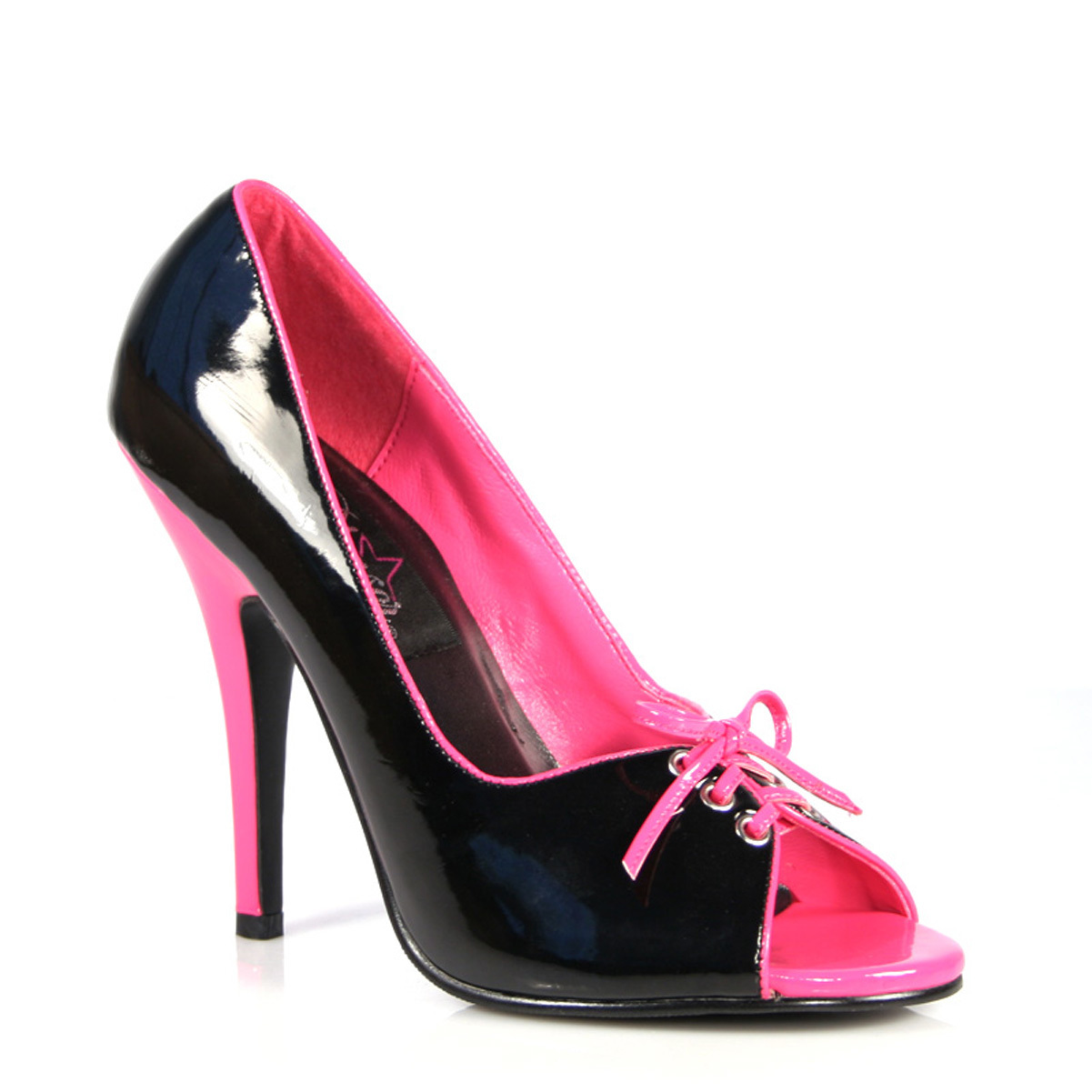 Womens Peep Toe Pumps Lace Up Shoes Hot Pink Black Patent 5 Inch Stiletto Heels