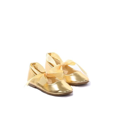 Kids Dream Gold Ballerina Ribbon Tie Rubber Shoe Baby Girl 3-10 (Baby Ballerina Shoes)