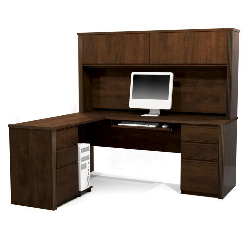 Bestar Prestige + L-Shape Wood Computer Desk Set with Hutch in Chocolate