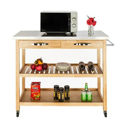 Zimtown Kitchen Island Cart Stainless Top Wood Big-Size Drawer Cookware Storage (Kitchen Cart Stainless)