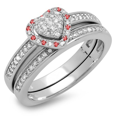 Sterling Silver Round Ruby & White Diamond Ladies Heart Shaped Bridal Engagement Ring Matching Band