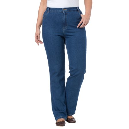 66e5d9b6354 Woman Within - Plus Size Petite Cotton Straight Leg Relaxed Fit Jean -  Walmart.com