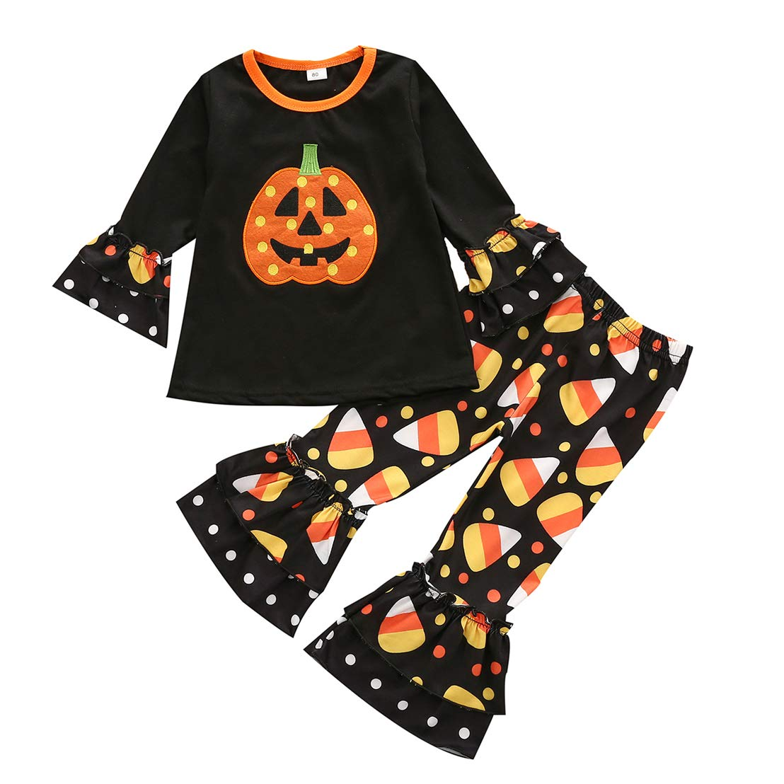 Qiylii Kids Baby Girl Velvet Bell-Bottoms Pants Fall Ruffle Flare Pant Trousers Leggings Toddler Clothes