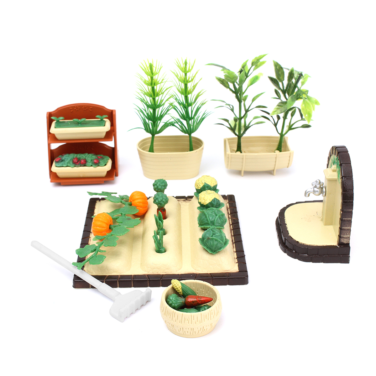 Miniature Gardening Vegetables DollHouse Furniture Outdoor Accessory Play Toys Spring Gardening Play Set Tools with Accessories For Sylvanian Families Dolls