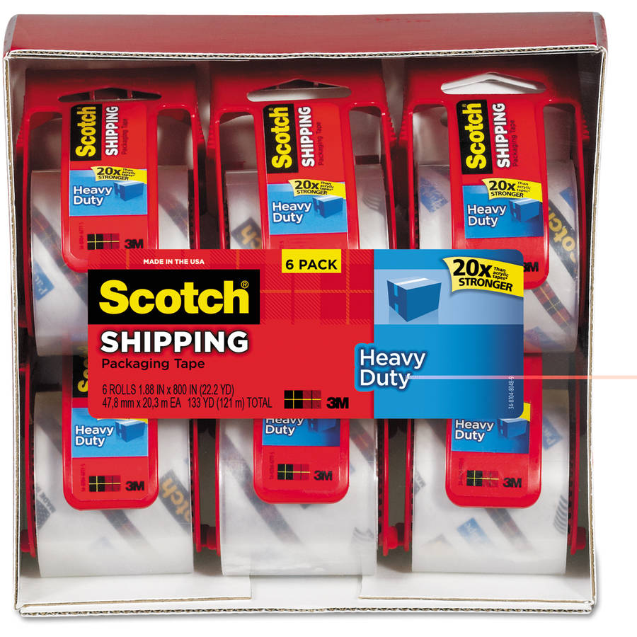 "Scotch 3850 Heavy-Duty Packaging Tape in Sure Start Disp., 1.88"" x 22.2 yds, 6/Pack"