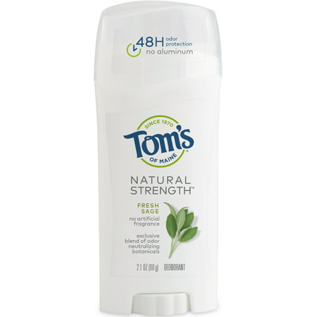 Lemon Sage Organic Deodorant - Tom's of Maine Natural Strength Deodorant, Fresh Sage, 2.1oz