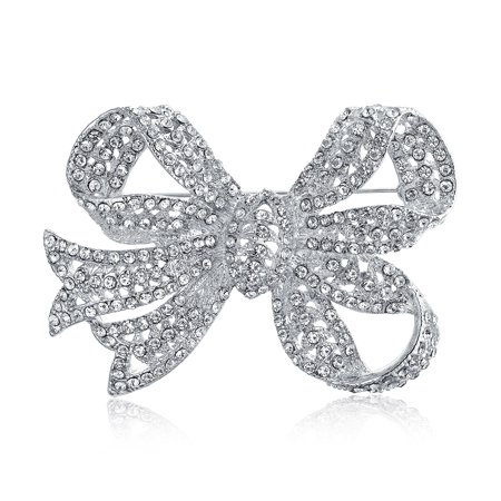 Large Bow Ribbon Shape Pave Crystal Wedding Bridal Brooch Pin For Women Silver Tone Rhodium Plated Brass