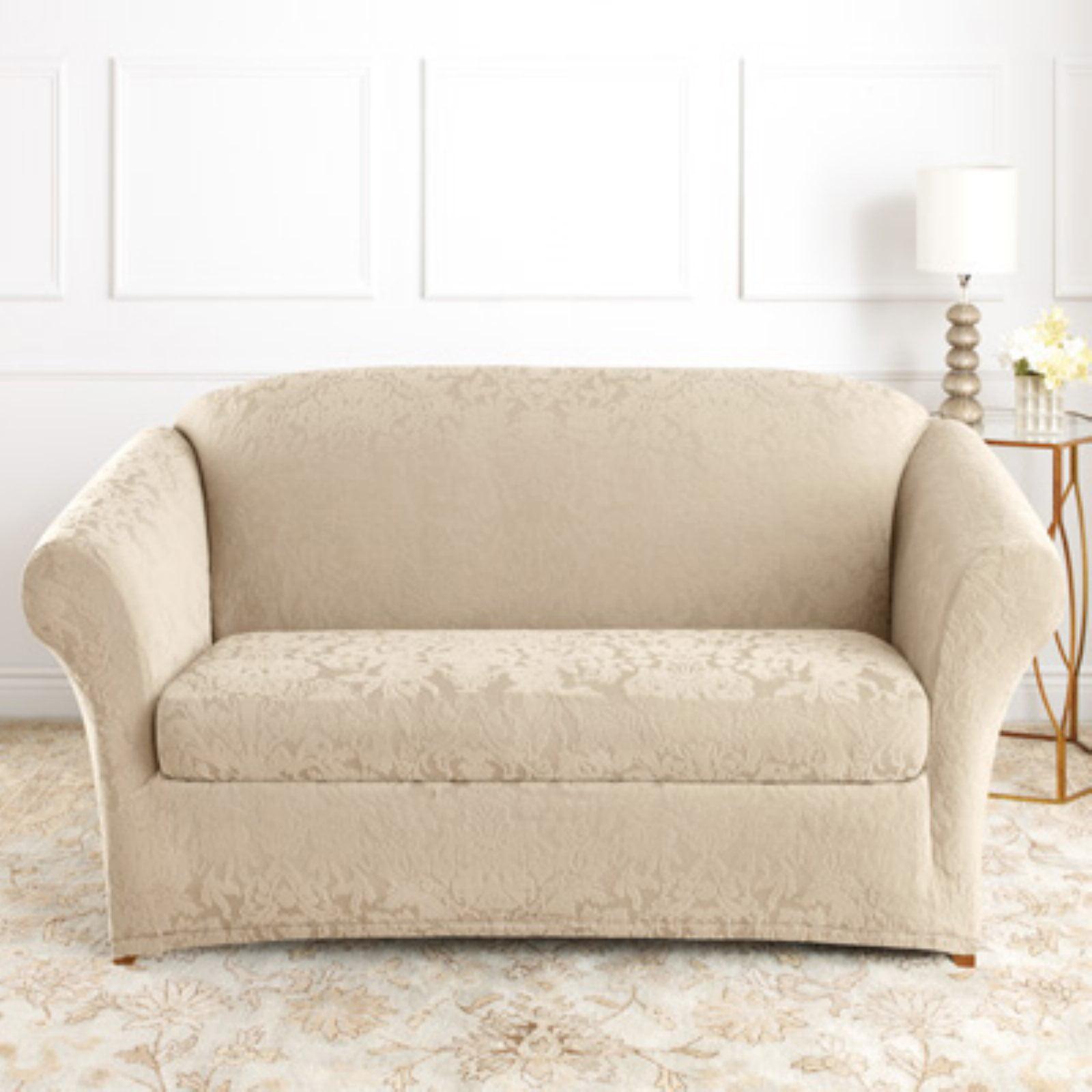 Sure Fit Stretch Jacquard Damask T Cushion Sofa Slipcover Walmart Com