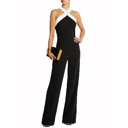 Women Halter Long Jumpsuit Cross Sleeveless Bodycon Rompers