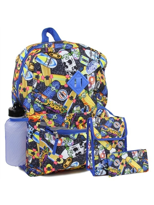 Boys Skateboards Backpack 5-Pc Lunch Bag Pencil Case Water Bottle by MAD