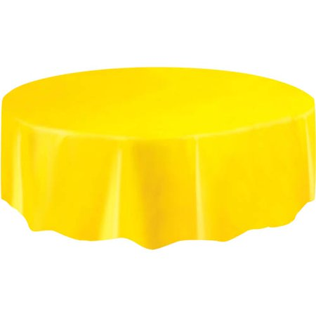 (2 pack) Plastic Round Tablecloth, 84 in, Yellow, 1ct - Round Plastic Table Cloths