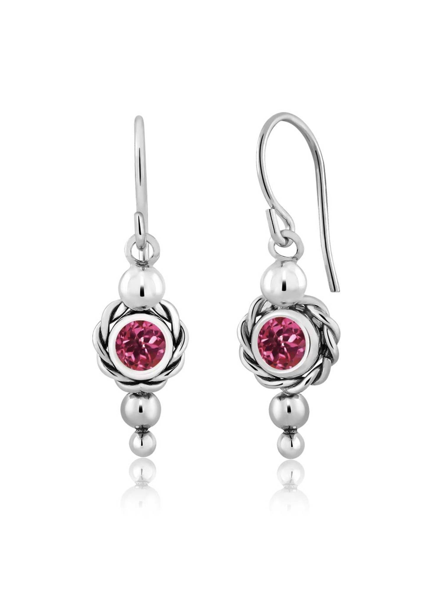1.00 Ct Round Pink Tourmaline 925 Sterling Silver Earrings by