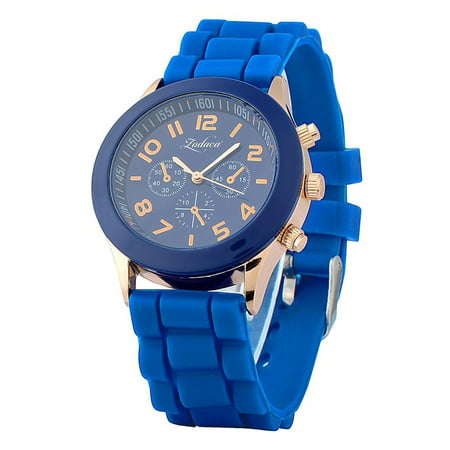 Dark Blue Unisex Men Women Silicone Jelly Quartz Analog Sports Wrist Watch New ()