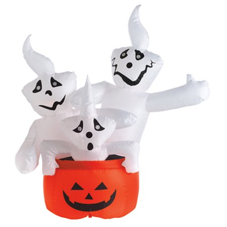 CITI TALENT LTD Halloween Inflatable Lawn Decoration, Stacked Ghosts, Lighted, 48-In
