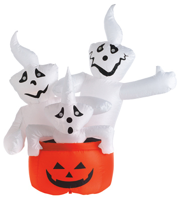 CITI TALENT LTD Halloween Inflatable Lawn Decoration, Stacked Ghosts, Lighted, 48-In.