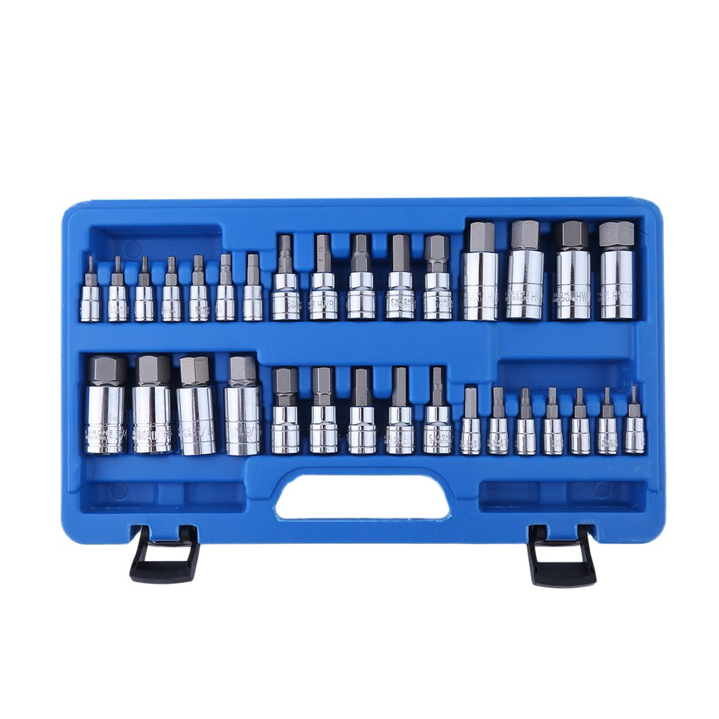 Heavy Duty 32 Pcs Universal Allen Wrench Bit Kit Chrome-Vanadium Ratchet Socket Tool Metric Impact Socket Adapter Set