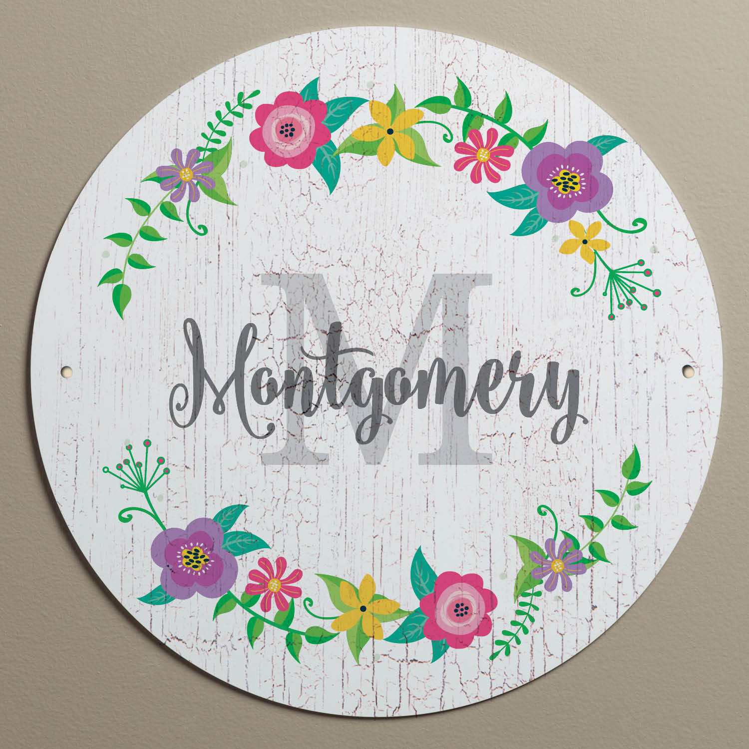 Floral Wreath White Personalized Tin Sign