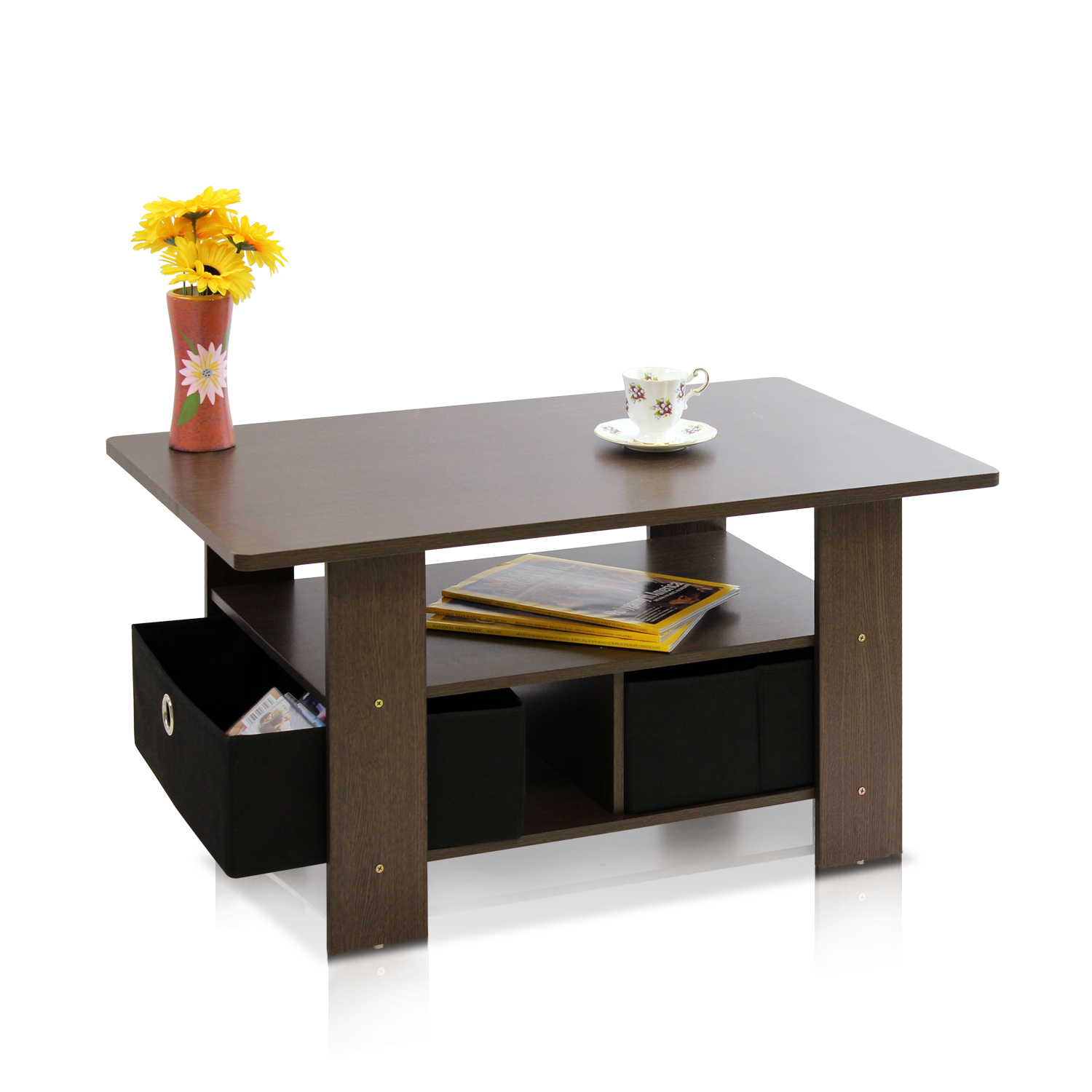 Petite Coffee Table with Foldable Bin Drawer Multiple Colors