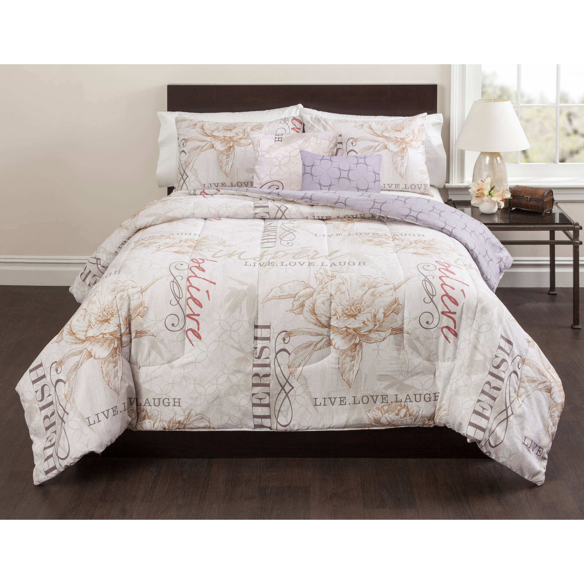 Casa Live, Laugh, Love 5-Piece Bedding Comforter Set - Walmart.com