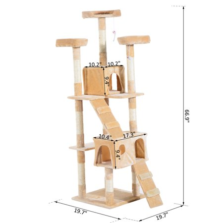 Multi-Level Cat Tree w/ Toy Scratching Post Tower Beige - image 2 of 7