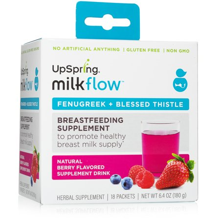 Milkflow Fenugreek + Blessed Thistle Powder Mix, Breastfeeding Supplement, Berry, 18