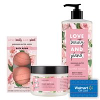 Free $5 e-Gift Card with Love Beauty and Planet Bountiful Moisture Body Wash + Peace and Glow Body Scrub + Bath Bombs, Rose Bundle