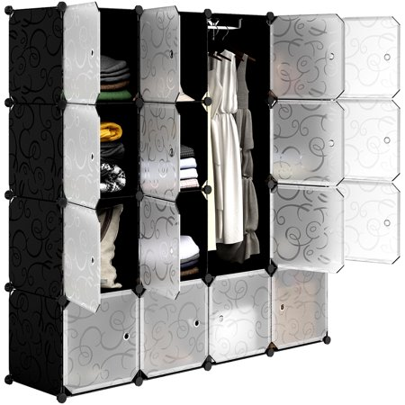 LANGRIA 16 Cube Organizer Plastic Stackable Storage Shelves Multifunctional Modular Closet Cabinet for Clothes Toys( Black and white)