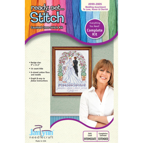 Janlynn 9x11.5 Love, Honor, Cherish Cross-Stitch Kit