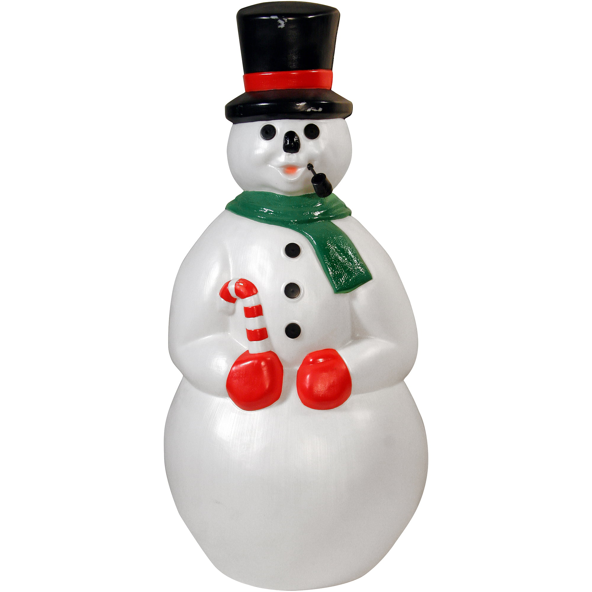 34 snowman with pipe blow mold walmartcom - Plastic Christmas Yard Decorations