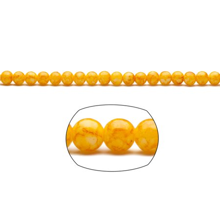 Sunshine Yellow Marble Grain Patterned Glass Beads 6mm Round 336-Bead Count