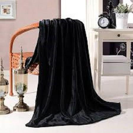 ULTRA SOFT THROW BLACK, Microlight Plush Solid Fleece Small Throw Blanket 50