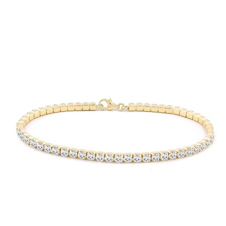 - Sterling Silver 3MM Round Cubic White Cubic Zirconia Tennis Bracelet In Rhodium & Gold Plated, 7.5 Inches