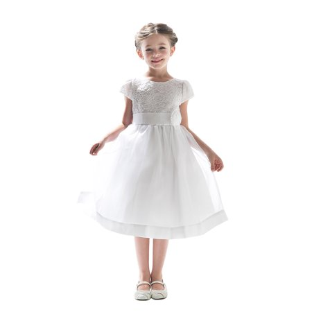 Ivory Lace Dress For Girls (Efavormart Attractive Lace and Mirror Organza Dress with a Satin Blossom Birthday Girl Dress Junior Flower Girl Wedding Girls)