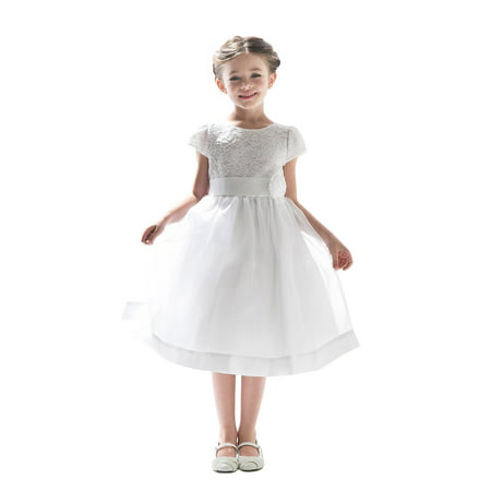 Flower Girls Dresses (Efavormart Attractive Lace and Mirror Organza Dress with a Satin Blossom Birthday Girl Dress Junior Flower Girl Wedding Girls)