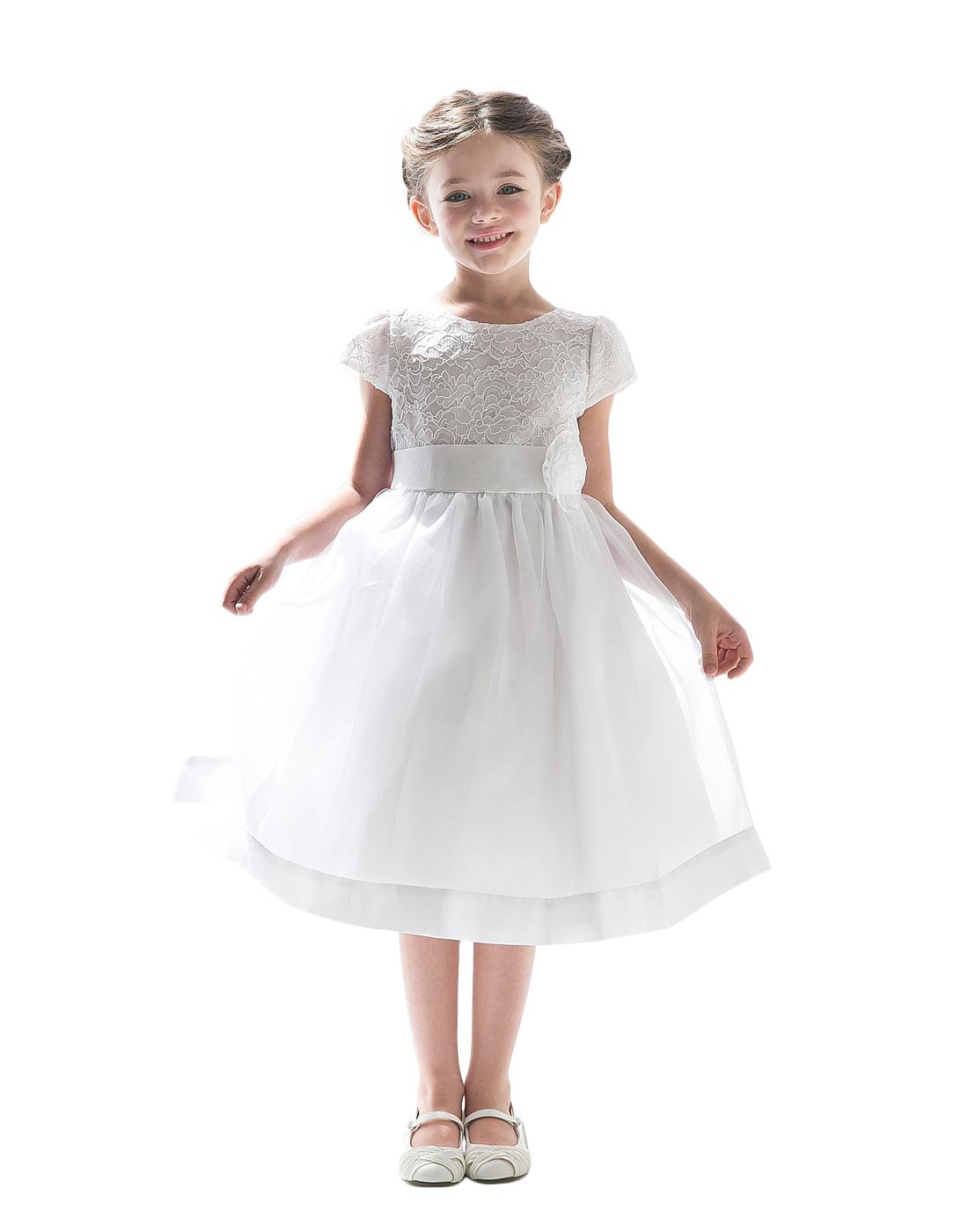 Efavormart Attractive Lace and Mirror Organza Dress with a Satin Blossom Birthday Girl Dress Junior Flower Girl Wedding Girls Dress