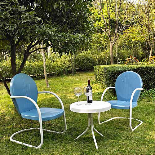 Crosley Furniture Griffith 3 Piece Metal Outdoor Conversation Seating Set