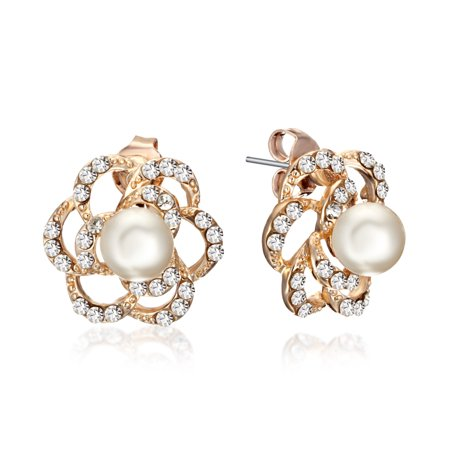 Gemini Women's Rose Gold Filled Pearl Swarovski Crystal Small Stud Earrings Gifts for her Gm124 , Color: Rose