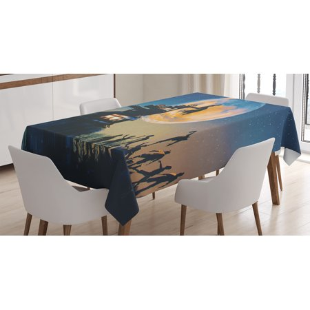 Fantasy World Decor Tablecloth, Dead Queen in Castle and Zombies Cemetery Love Bridal Halloween Theme, Rectangular Table Cover for Dining Room Kitchen, 52 X 70 Inches, Blue Yellow, by Ambesonne