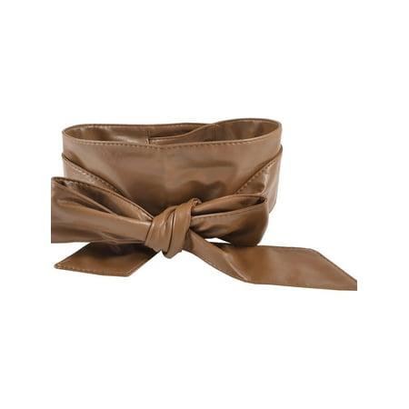 Tie Obi Sash (Women Self Tie Faux Leather Wide Obi Sash Waist Belt Wrap Band 2.2M)