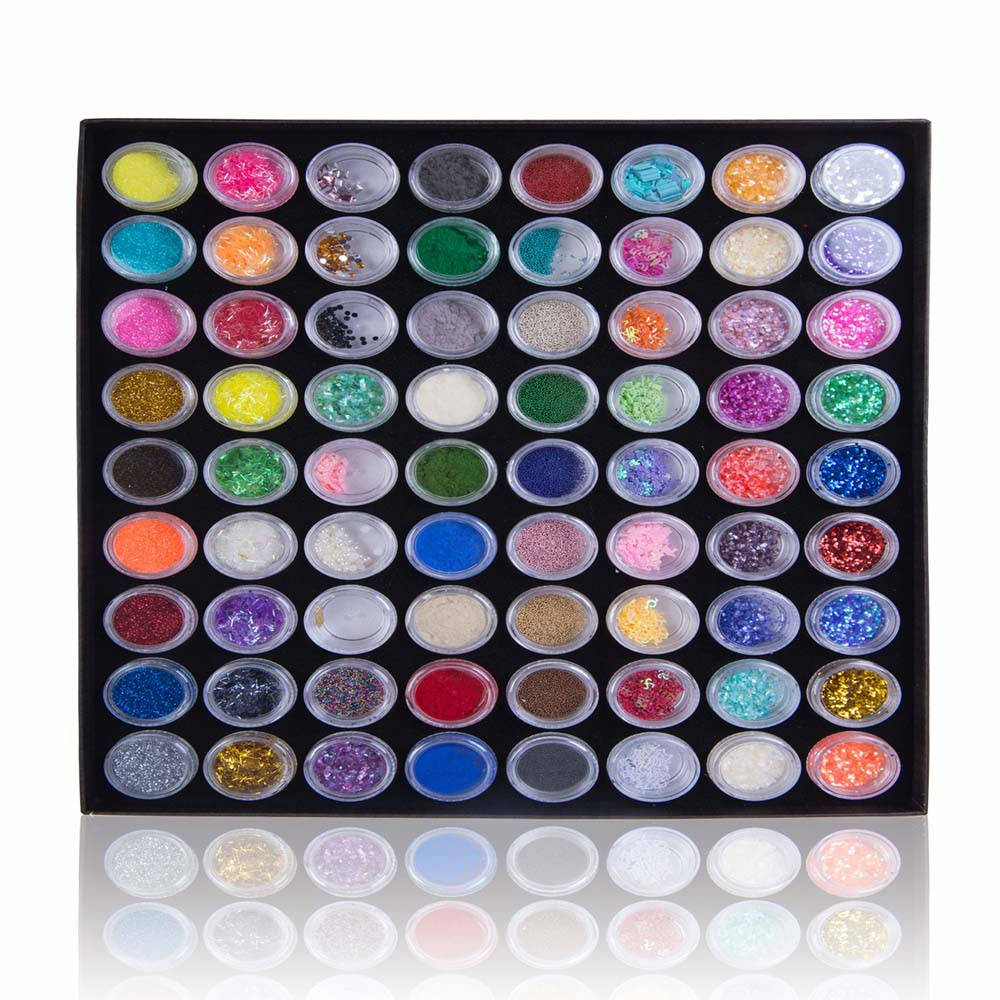 SHANY DIY 3D Nail Art Set - 72 Assorted Designs, Jewelries, Powder, Glitter - Nail Fanatic Collection