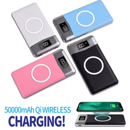 500000mAh Power Bank Qi Wireless Charging 2 USB LCD LED Portable Battery