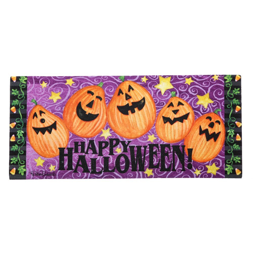Jack-o-Lantern Welcome Sassafras Switch Mat, Welcome guests to your home with a seasonal doormat display! By Evergreen from USA