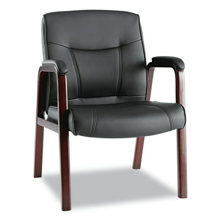 Alera Madaris Series Leather Guest Chair w/Wood Trim, Four Legs, - Alexa Stackable