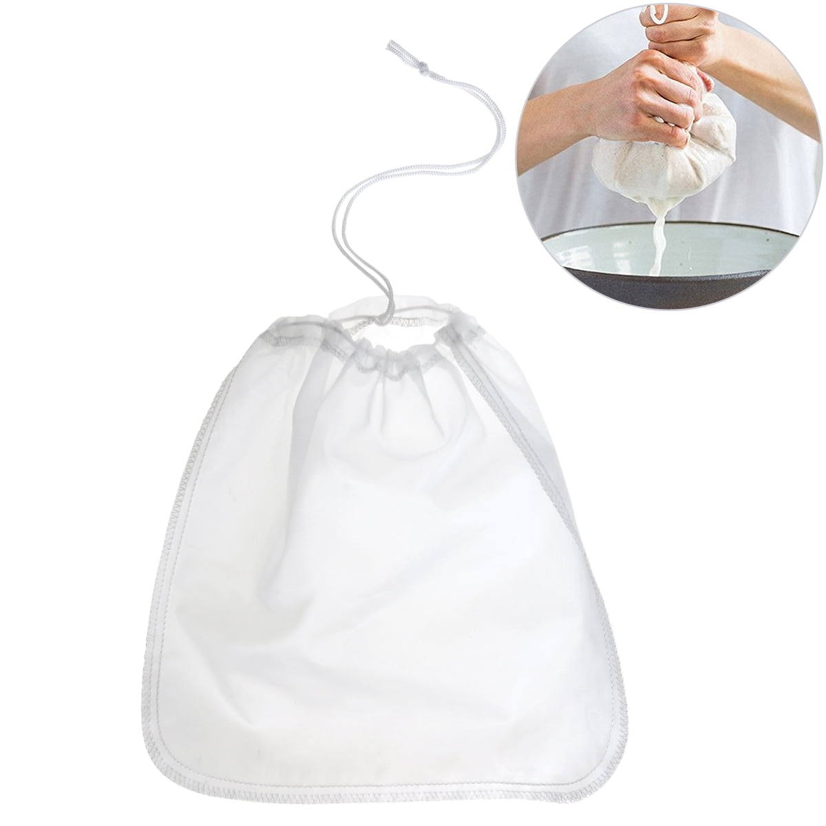 Click here to buy BESTOMZ 200μm Nut Milk Bag Reusable Almond Milk Bags Commercial Food Grade Fine Nylon Mesh Food Strainer & Cheese Maker Coffee & Tea Filter.