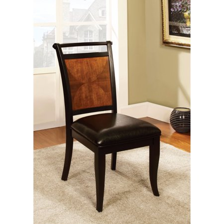 Transitional Side Chair, Black & Antique Oak Finish, Set Of 2